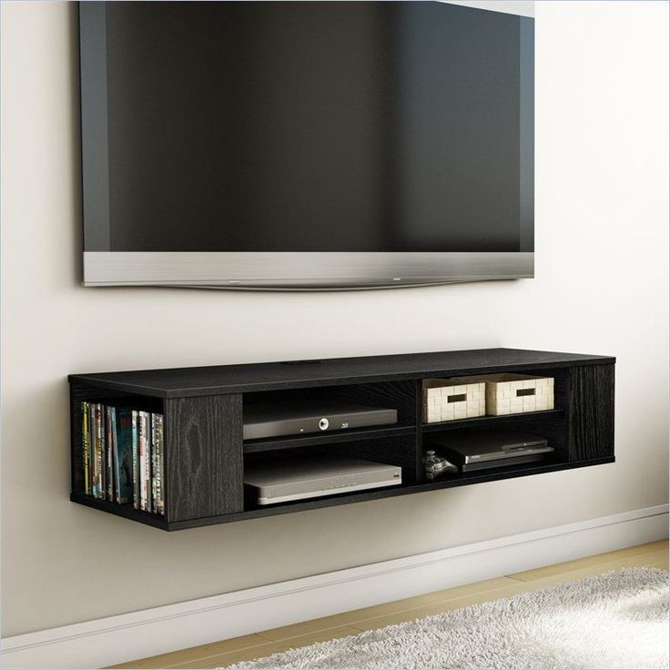 Wall mounted media console black tv stand entertainment for Tv media storage cabinet