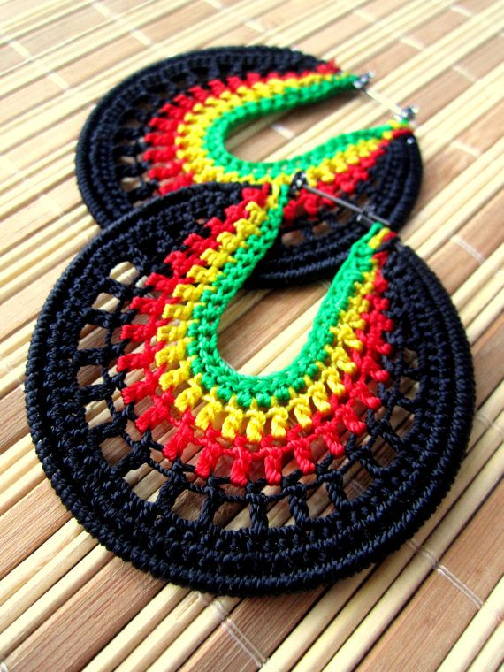 Rasta Crochet Hoops by BohemianHooksJewelry on Etsy, $18.00