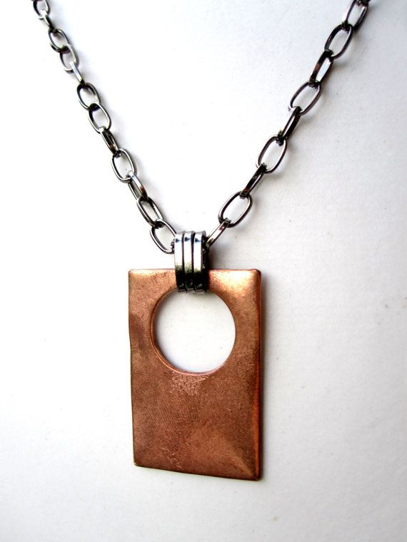 Mens Necklace Geometric Necklace Copper Necklace Mixed Metal Jewelry For Him