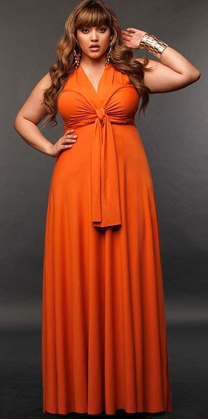 Orange plus size maxi dress
