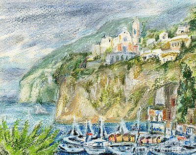Boats in the bay against fishing village Vico Equense on a rocky seashore. Pastel/watercolors landscape.