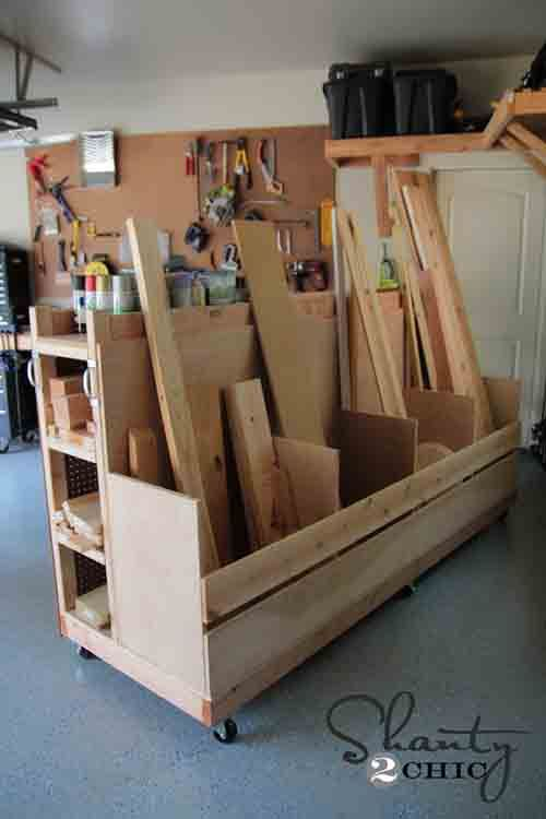 Garage Organization! DIY Lumber Cart - LivingGreenAndFrugally.com