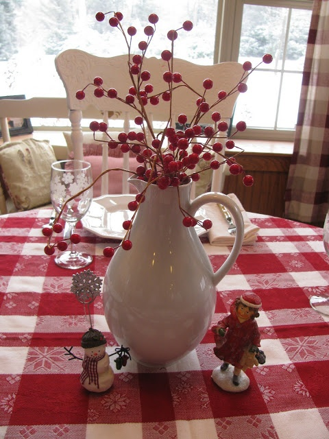 Red and Winter White Table.
