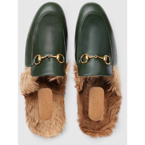 Gucci Princetown Leather Slipper ($735) ❤ liked on Polyvore featuring men's fashion, men's shoes, men's slippers, mens green leather shoes, mens flat shoes, mens leather sole shoes, mens fleece lined shoes and gucci mens slippers