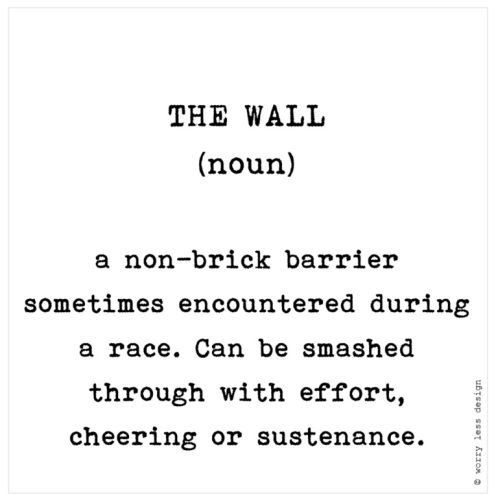The Wall Funny running quote. Running definition. Motivation for runners Greetings card www.worrylessdesign.co.uk