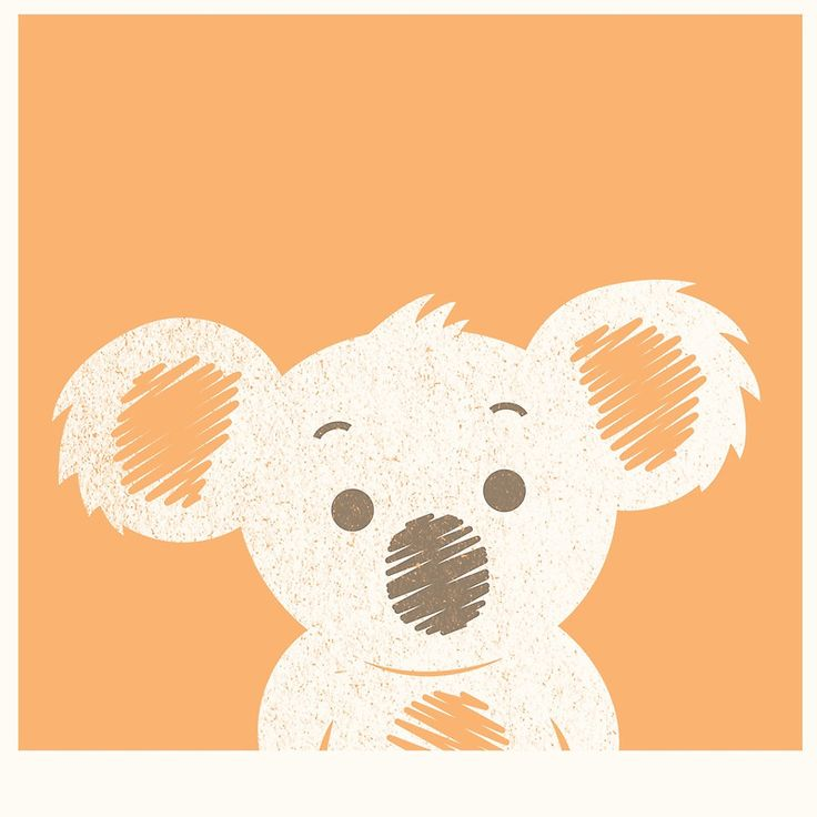 Koala Illustration Orange Background | Photographic Print