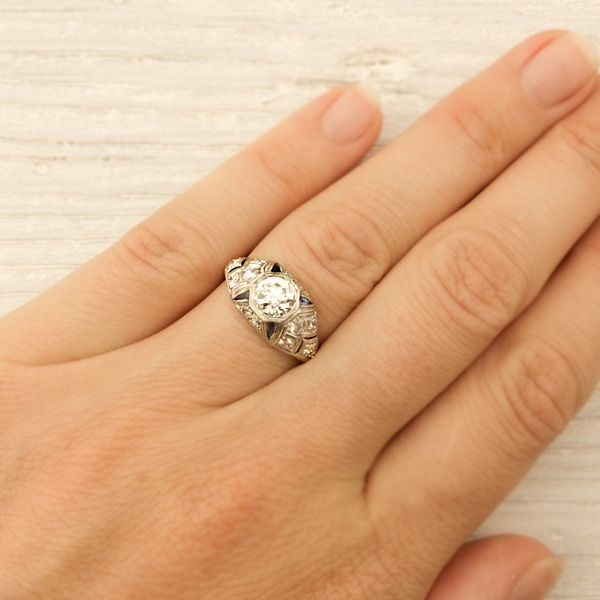 .62 Carat Platinum and Diamond Sapphire Engagement Ring   Erstwhile Jewelry Co.
