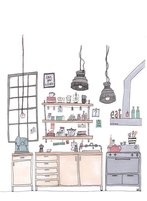 Cool kitchen via cat