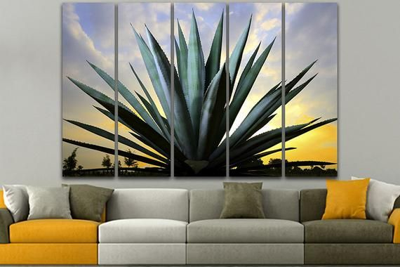 Blue Agave Wall Art Floral Print Agave Decor Agave Canvas Etsy In 2020 Cactus Poster Nursery Prints Kitchen Wall Decor