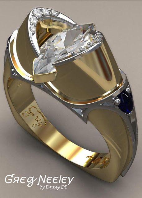 Brilliant Luxury by Emmy DE * Greg Neeley Medieval Marquis Wedding Ring