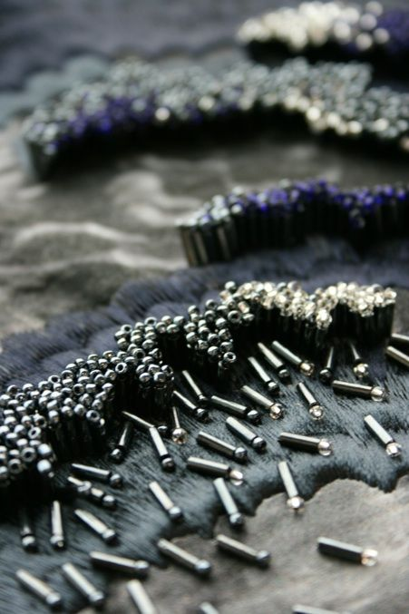Beading, Stitch & Texture - close up fabric surface detail #textiles…