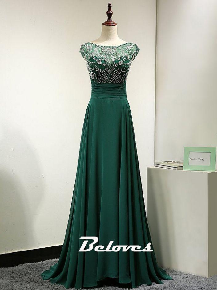 Prom Dress, Green Dress, Chiffon Dress, Prom Dress 2017, Dark Green Dress, Beaded Dress, Dress With Sleeves, Prom Dress With Sleeves, Green Prom Dress, Dress Prom, Green Chiffon Dress, Bodice Dress, Dark Green Prom Dress
