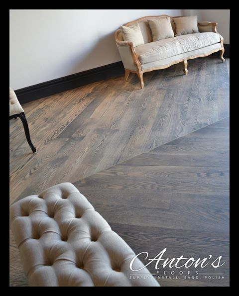 Oak rubbed stained flooring