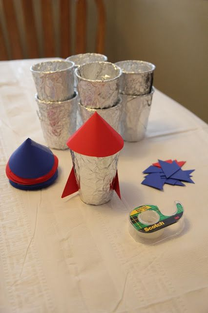 Rocket ships out of cups