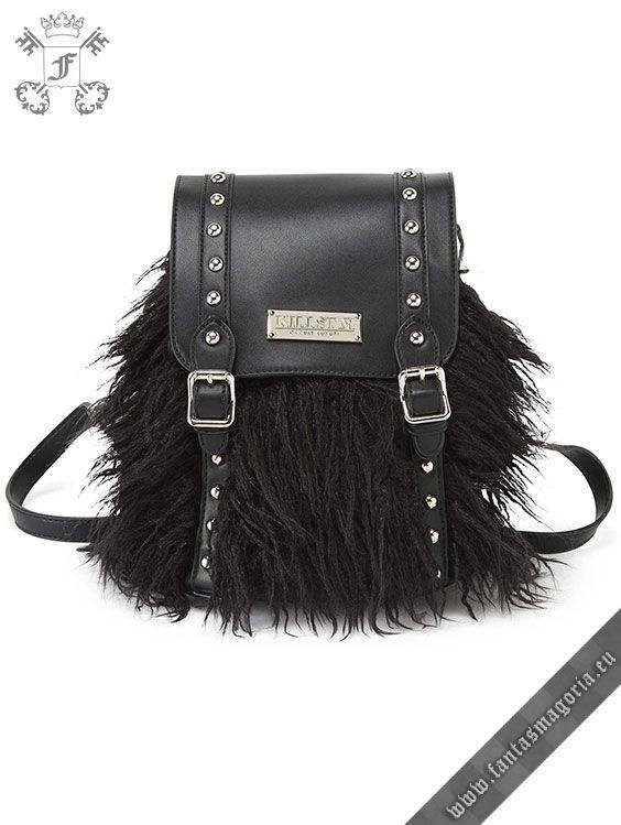 2c186ac13861 All black and playful faux fur backpack - with accent detailing in vegan  leather  the  Alva  backpack keeps it light without lacking in space