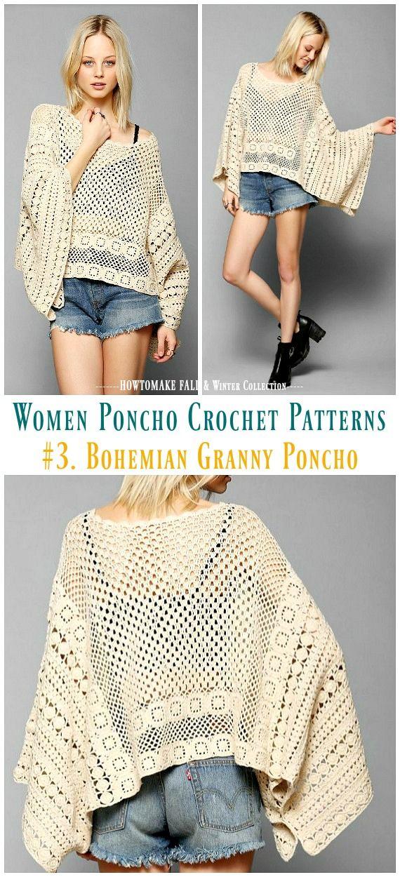 Fall & Winter Women Poncho Free Crochet Patterns & Paid | Crochet ...