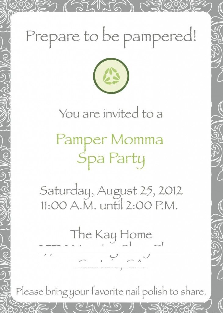 Pamper Party Invites was good invitations layout