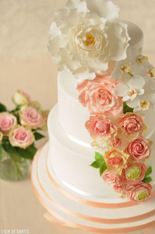 Peach & Mint Wedding Cake  |  by Ligia De Santis |  TheCakeBlog.com