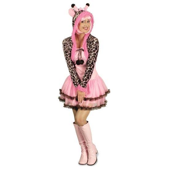 Compleet giraffe verkleedkostuum voor dames. Het kostuum bestaat uit roze topje met aangehechte tutu en een bolero met capuchon met oortjes. Materiaal: 100% polyester.