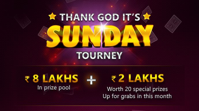 Win Rs.2 Lakhs and other cool prizes from Ace2Three every Sunday! Join the TGIS tournaments now! #OnlineRummy