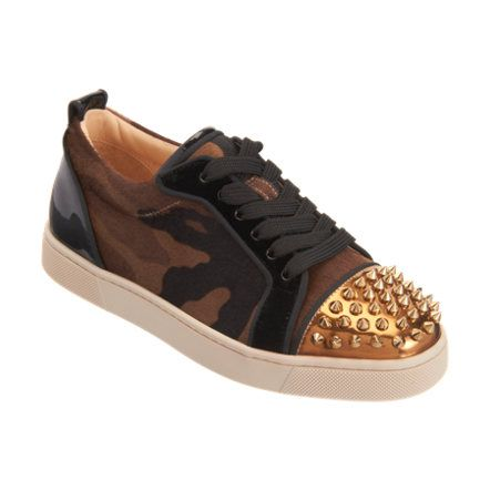 camo print, pony hair low top sneaker with detailed gold-tone ...