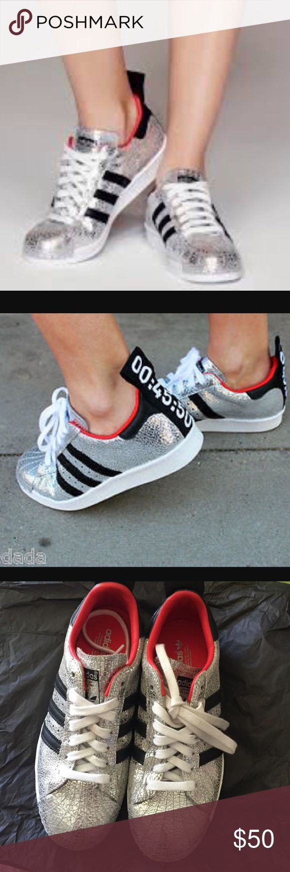 Topshop for Adidas superstar Slightly worn but still in good condition. Size runs big. Adidas Shoes Sneakers