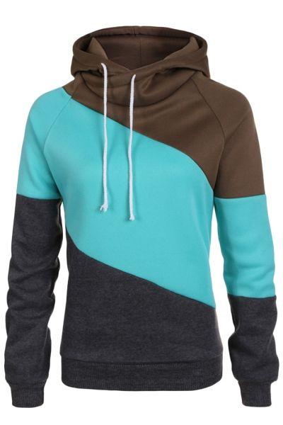 Color Block Funnel Neck Drawstring Hooded Sweatshirt OASAP.com