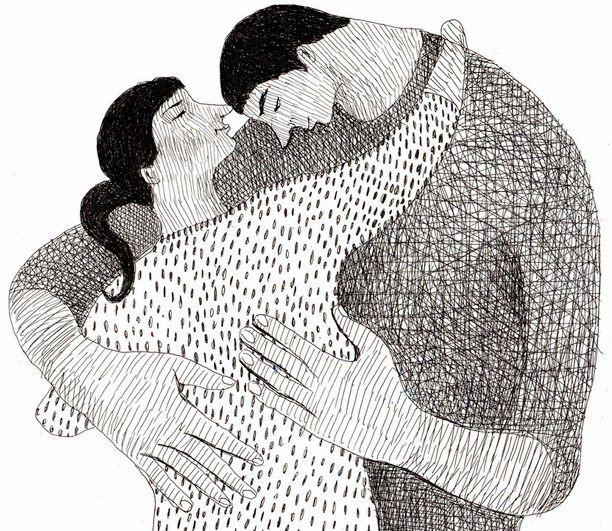 a black and white valentines day couple illustration by Tali Yalonetzki