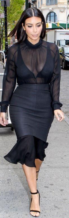 Kim Kardashian: Skirt – Balenciaga  Shirt – Kardashian Kollection  Shoes – Tom Ford