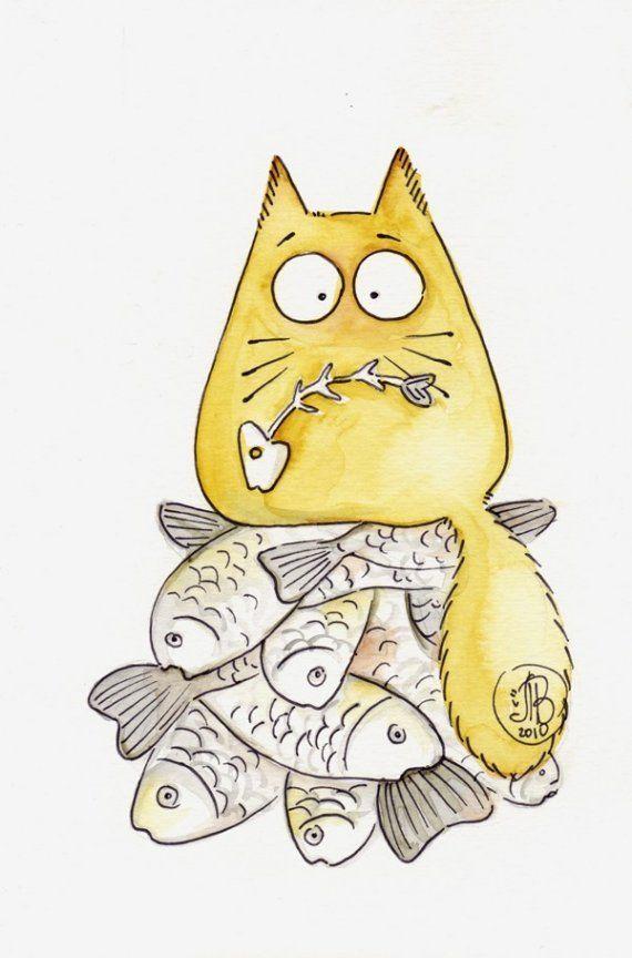 Картинки нарисованных котов смешные