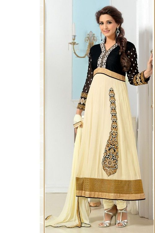 Sonali Bendre - Cream and Black Faux Georgette Anarkali Suit online shopping
