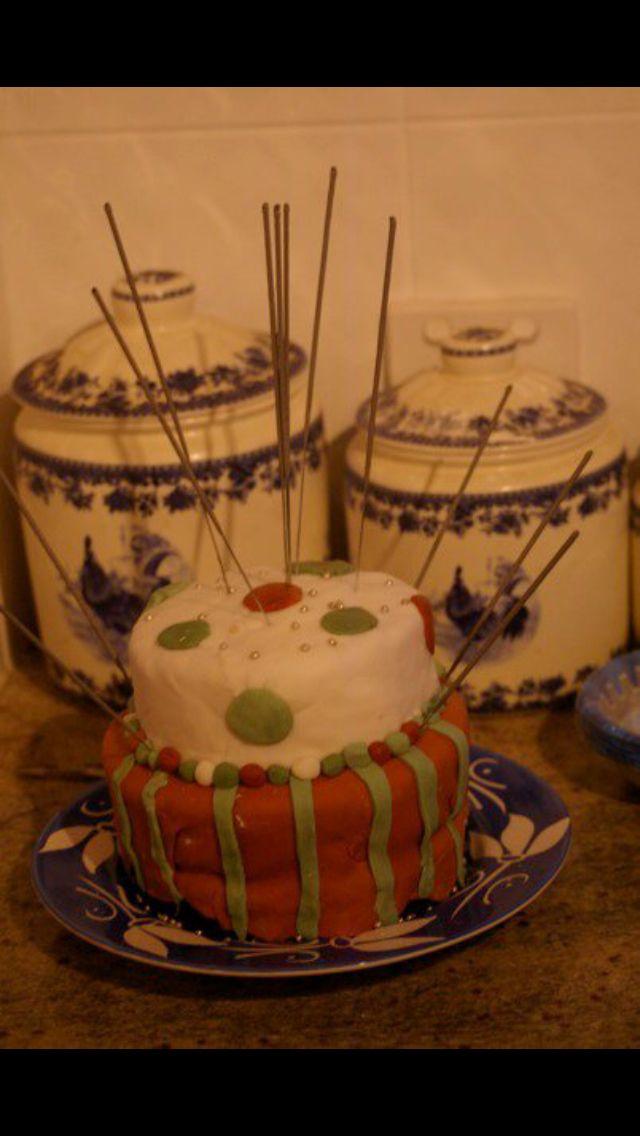 Polka dot and striped cake
