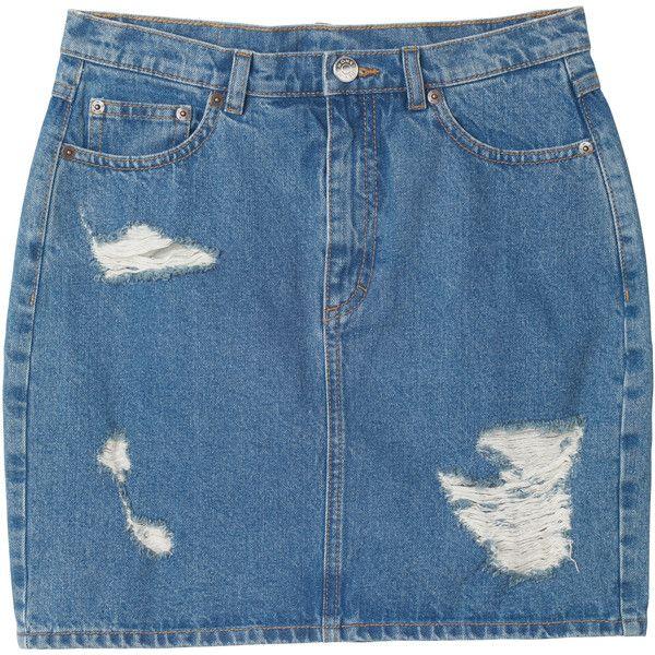 Monki Mimmi denim skirt ($33) ❤ liked on Polyvore featuring skirts, bottoms, denim, clothes - skirts, blue acid wash, monki, denim skirt, mid thigh skirt, neon skirt and blue skirt