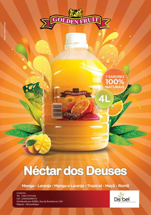 Golden Fruit Juice Ad Posters by Grande Lelo, via Behance