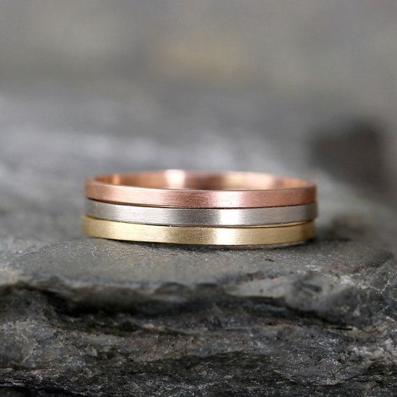 14K Gold Stacking Rings Yellow White or Rose Gold by ASecondTime