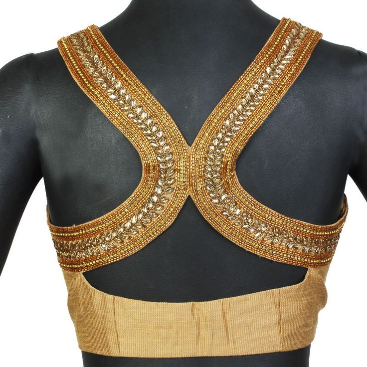 Saree Blouse Style, gold saree blouse, Indian clothes
