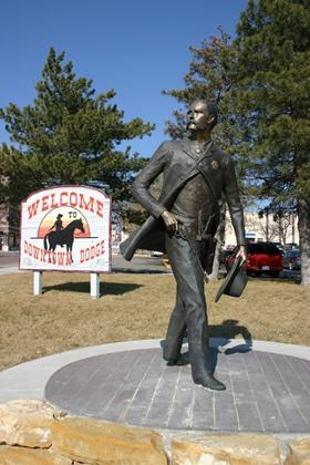 Eight foot bronze Wyatt Earp Statue in Dodge City, KS.