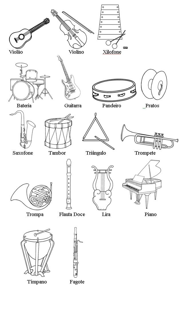 Spanish musical instruments coloring