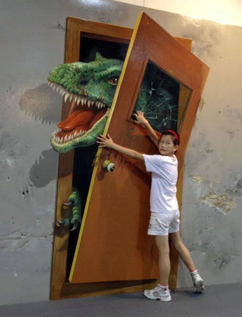 People Interact With 3D Paintings At The Magic Art Exhibiion In China. Image Number 10 Of Dinosaur Door . & Dinosaur Door \u0026 Dinosaur Door\