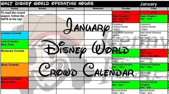 January 2018 Walt Disney World Park Hours, Extra Magic Hours and Crowd Calendar created