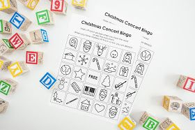 Free Printable Christmas Concert Bingo Cards. To help keep children entertained during any Christmas Concerts you'll be attending, you'll definitely want to print off some of these BINGO cards. // Bright Apple Blossom // free template, christmas activities, bingo cards, coloring page, printable, christmas songs