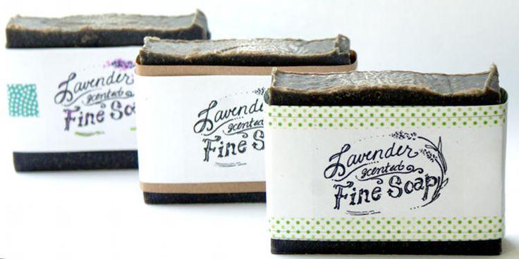 Handmade attivato Ricetta Carbone Viso Sapone con lavanda, Tea Tree e Algae - Free Printable Cigar Banda Soap Etichette - Soap Idee Packaging fatti in casa