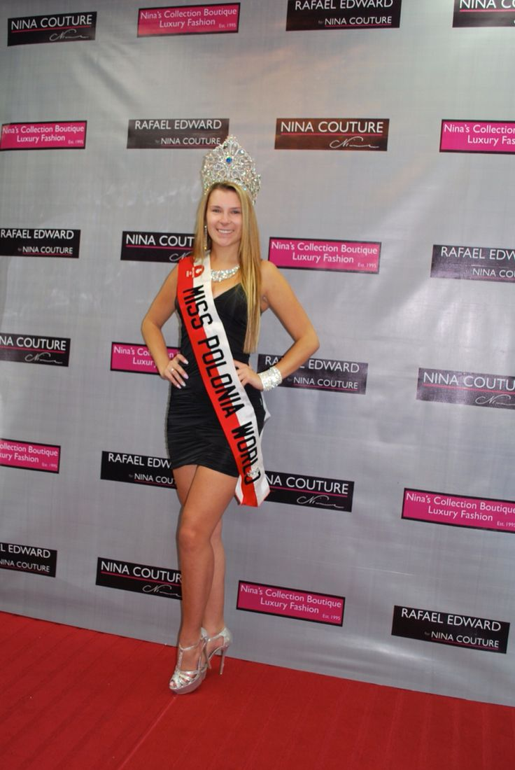 Miss Polonia World in a #LBD Little Black Dress from Nina Couture. Now available at Nina's Collection Boutique 905.896.9177