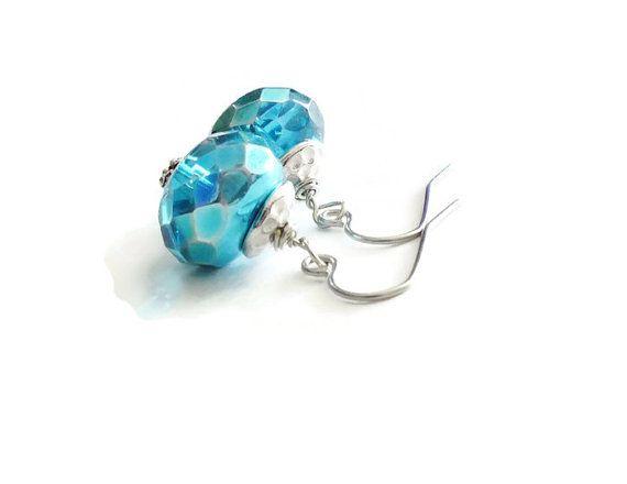 Teal Metallic Earrings Czech Earrings Marine Earrings by harmony5