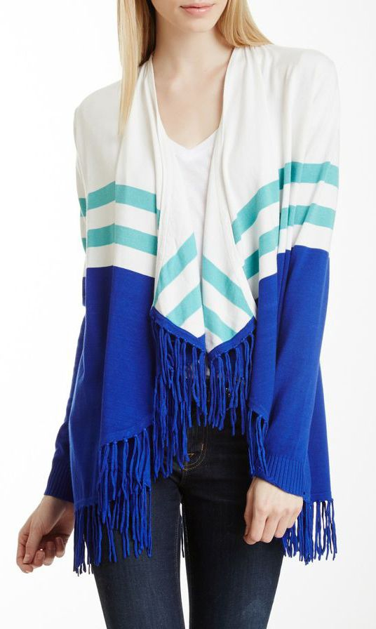 Striped Fringe Cardigan Perfect For Christmas