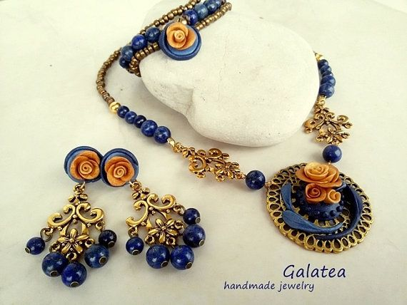 Gemstones Lapis lazuli jewelry set baroque by GalateaJewelry