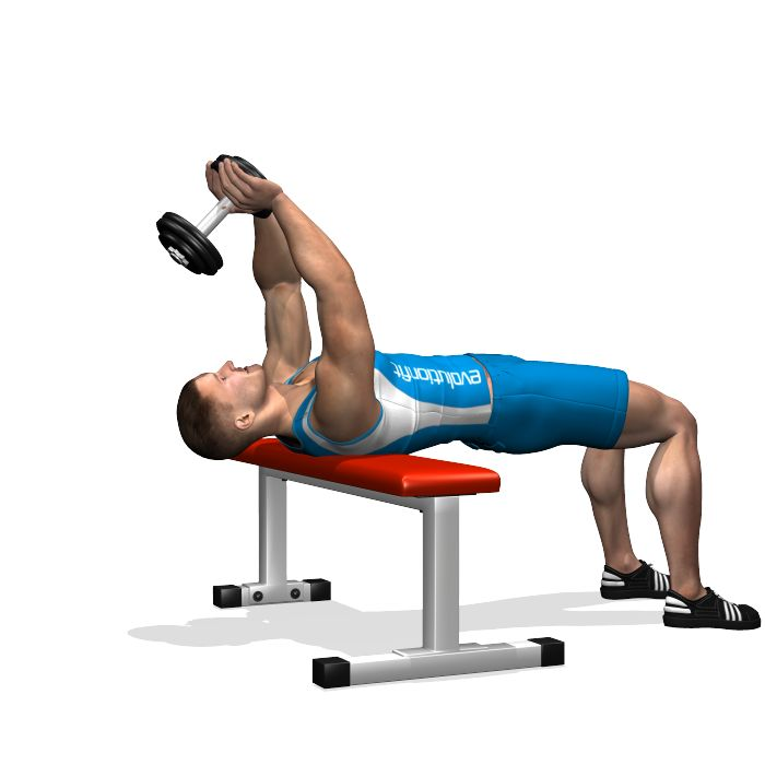 Lower  the dumbbell slowly behind your head in a arc, keeping the arms stretched. When you feel your chest completely stretched, bring the arms back to the starting position.