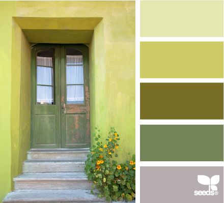 a door green...in sync with its surrounding colors