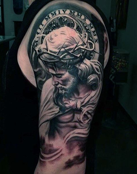 Realistic Religious Male Sleeve Tattoo