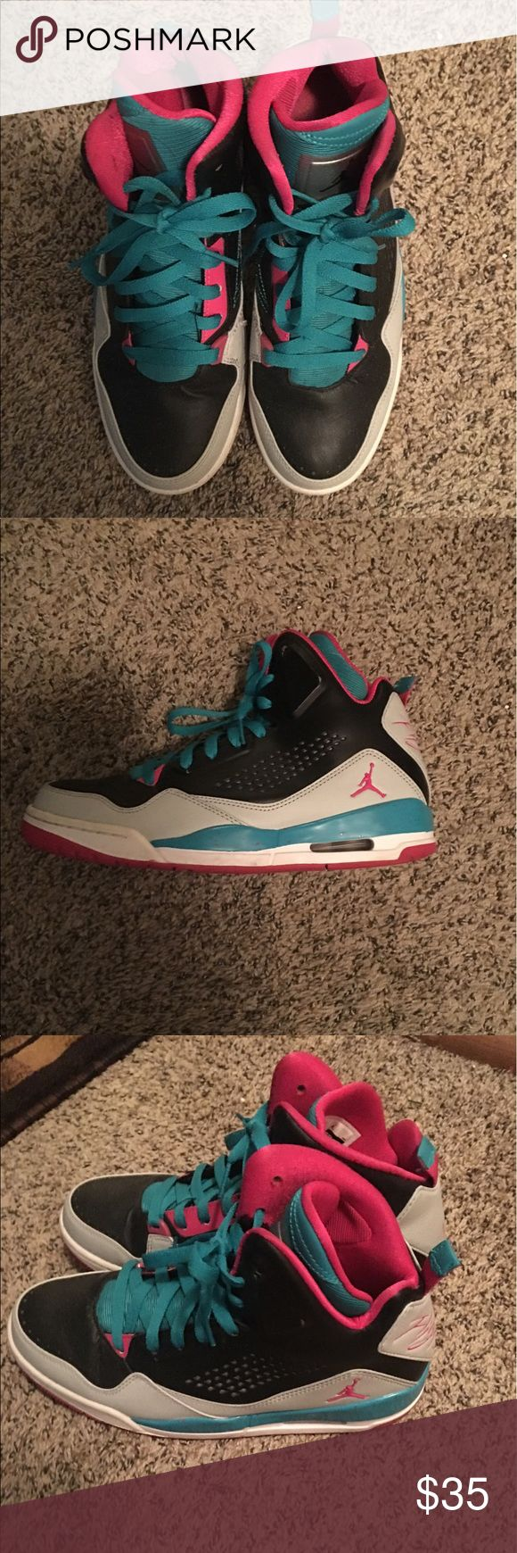 Jordan's high tops Teal and black EUC. Shoes Alway stored with newspaper inside to keep shape. Nike Shoes Athletic Shoes